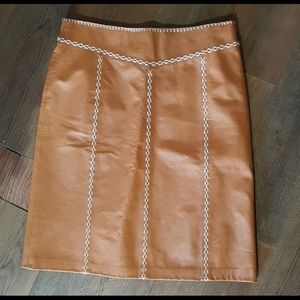 Brown Gap Leather Skirt